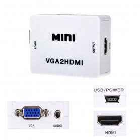 Mini Conversor Hd Vídeo Vga X Hdmi Vga2hdmi