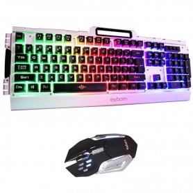Kit Teclado + Mouse Gamer Semi Mecânico Led - Exbom