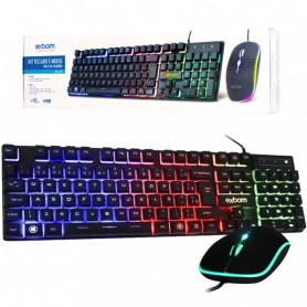 Kit Teclado + Mouse com USB e LED colorido - Exbom